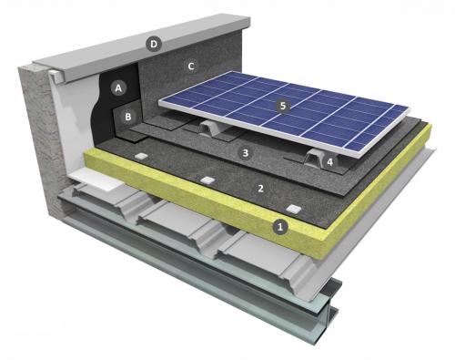 Procédé photovoltaïque ROOF SOLAR BITUME sur étanchéité bicouche fixée mécaniquement avec isolation