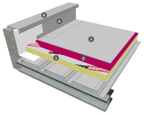 Membrane PVC-P en adhérence sur IKO ENERTHERM ALU