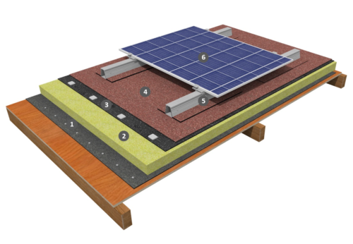 Procédé photovoltaïque à plat sur étanchéité bicouche fixée mécaniquement avec isolation