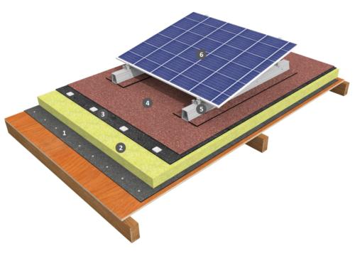 Procédé photovoltaïque simple shed sur étanchéité bicouche fixée mécaniquement avec isolation