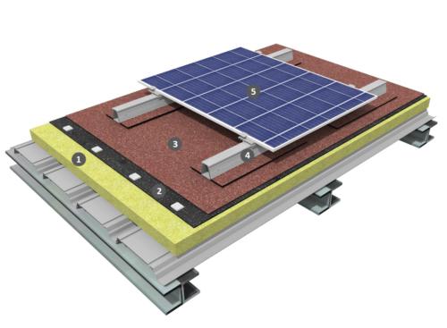 Procédé photovoltaïque sur étanchéité bicouche fixée mécaniquement avec isolation