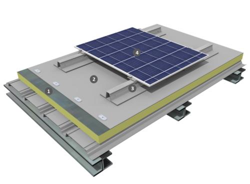 Procédé photovoltaïque à plat sur étanchéité monocouche PVC-P fixé mécaniquement avec isolation