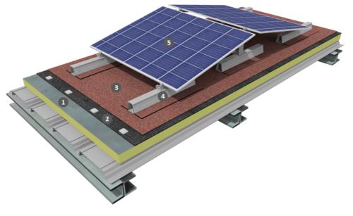 Procédé photovoltaïque double shed sur étanchéité bicouche fixée mécaniquement avec isolation